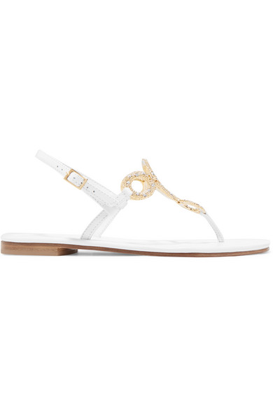 MUSA Crystal-Embellished Leather Sandals in White