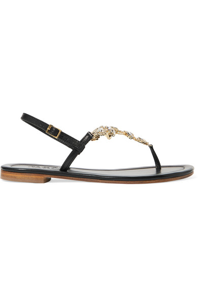 MUSA Crystal-Embellished Leather Sandals in Black