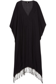 SU Paris Jimba fringed cotton-voile kaftan