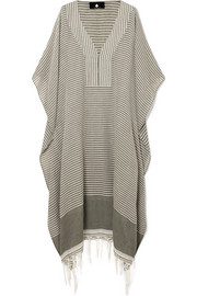 Jimba fringed striped cotton-voile kaftan