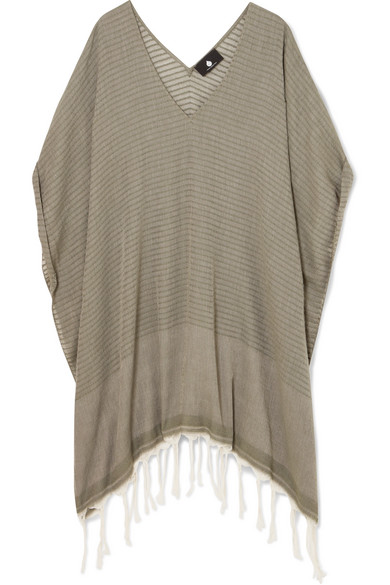 SU PARIS Luma Fringed Ribbed Cotton-Voile Kaftan in Army Green