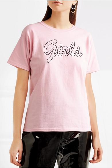 Double Trouble Gang Girls besticktes T-Shirt aus Baumwoll-Jersey