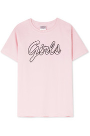 Girls embroidered cotton-jersey T-shirt