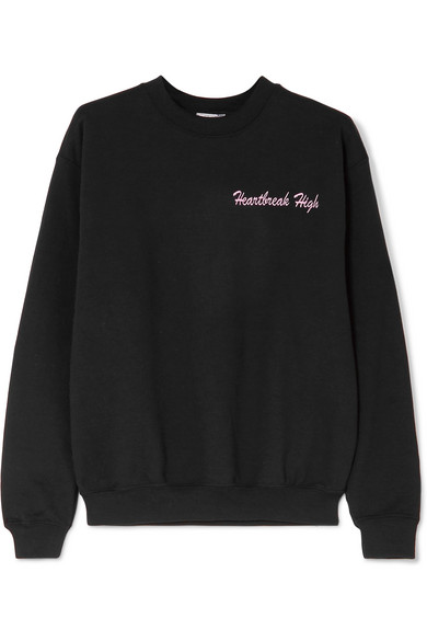 DOUBLE TROUBLE GANG Heartbreak High embroidered cotton-blend jersey sweatshirt