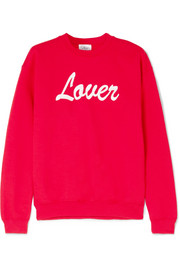 Lover embroidered cotton-blend jersey sweatshirt