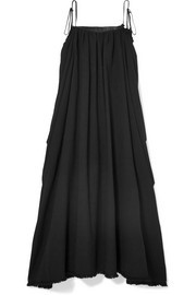 Zacnite leather-trimmed cotton-gauze maxi dress