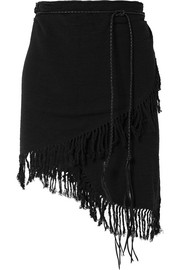 Tuzik belted fringed cotton-gauze pareo