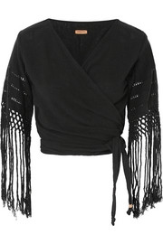 Luum fringed cotton-gauze wrap top