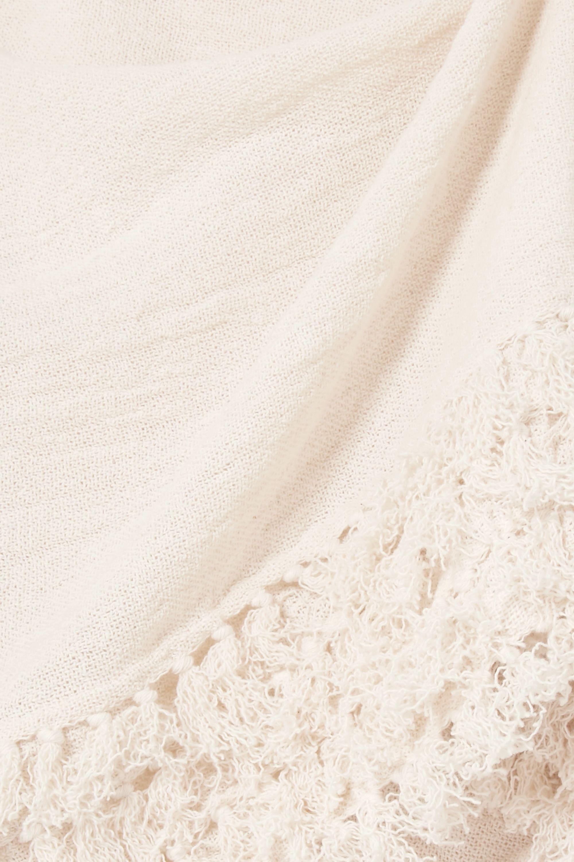 Caravana Xok belted fringed cotton-gauze pareo