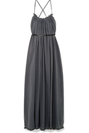 Muul leather-trimmed cotton-gauze maxi dress