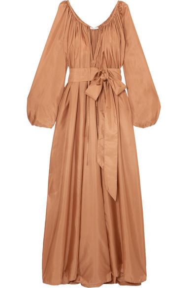 KALITA Andromeda belted silk-habotai maxi dress