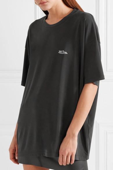 we11done Bedrucktes T-Shirt aus einer Stretch-Modalmischung in Oversized-Passform