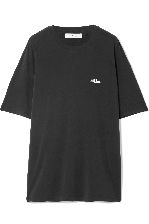 we11done T-shirt oversize en modal mélangé stretch imprimé