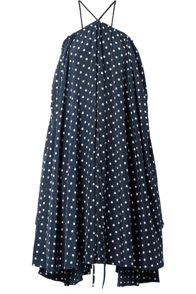we11done Kleid aus Satin mit Polka-Dots