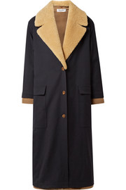Convertible shearling-trimmed wool-blend coat