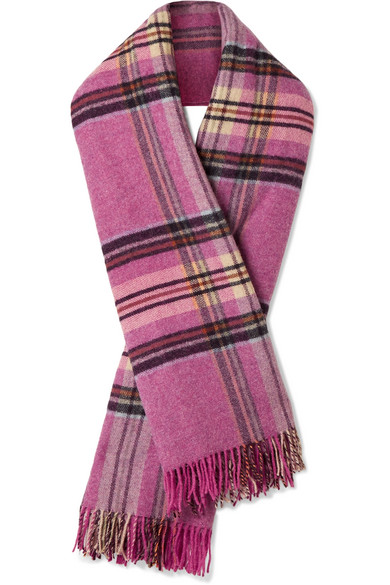 we11done - Fringed Plaid Wool Scarf - Pink