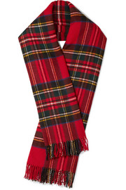 Fringed plaid merino wool scarf