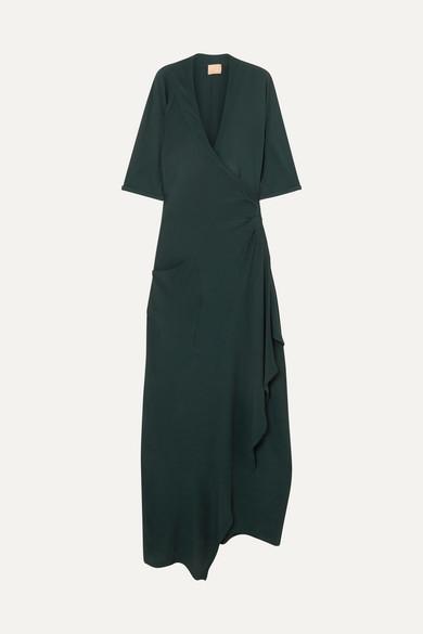 Albus Lumen Claudia asymmetrisches Wickelkleid aus Crêpe in Maxilänge