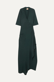 Albus Lumen Claudia asymmetric crepe wrap maxi dress