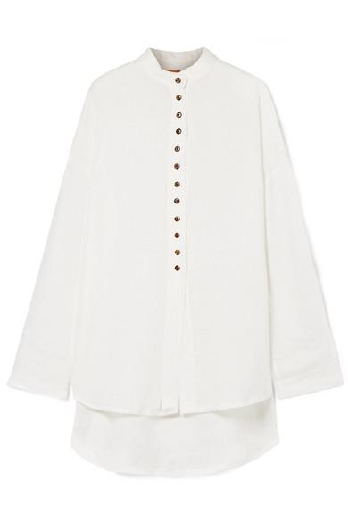 ALBUS LUMEN Sabina Oversized Linen Shirt in White