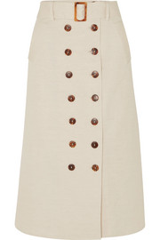 Albus Lumen Monica belted cotton and linen-blend midi skirt
