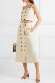 Monica belted cotton and linen-blend midi skirt