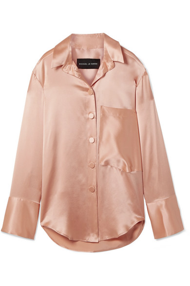 8612825811a Michael Lo Sordo. Oversized silk-satin shirt
