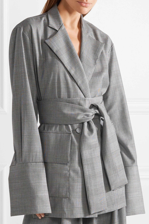 Michael Lo Sordo Wollblazer mit Glencheck-Muster und Gürtel