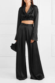 Cropped silk-satin top