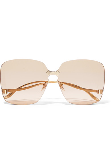 Square Frame Gold Tone Sunglasses by Gucci