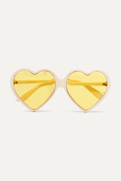 Forever Hollywood Heart-Shaped Acetate Sunglasses, Ivory/Yellow