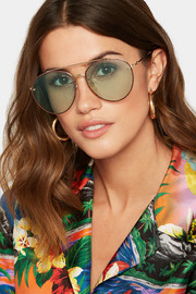 Gucci Aviator-style glittered gold-tone sunglasses