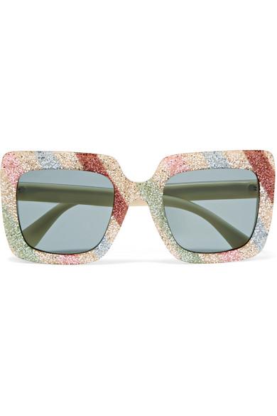 Square-Frame Glittered Acetate Sunglasses in White