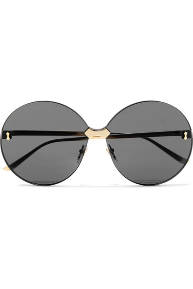 7218a90d99 Gucci Round-Frame Gold-Tone Sunglasses In Gray