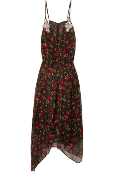 DODO BAR OR Crystal-Embellished Floral-Print Chiffon Midi Dress in Black