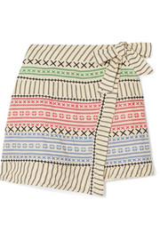 Striped cotton-gauze wrap mini skirt