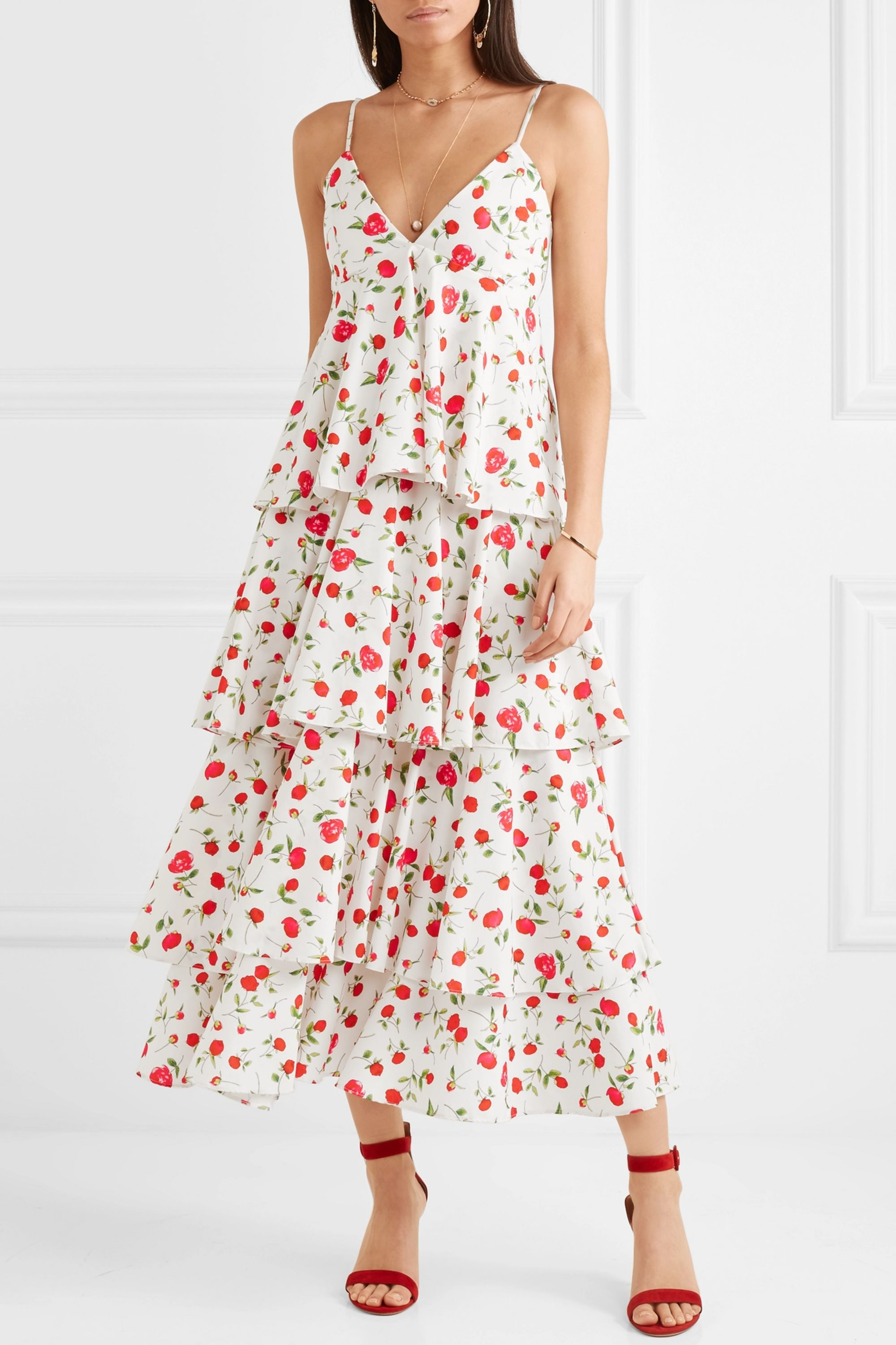 Dodo Bar Or Tiered floral-print crepe dress