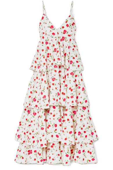 DODO BAR OR Tiered Floral-Print Crepe Dress in White