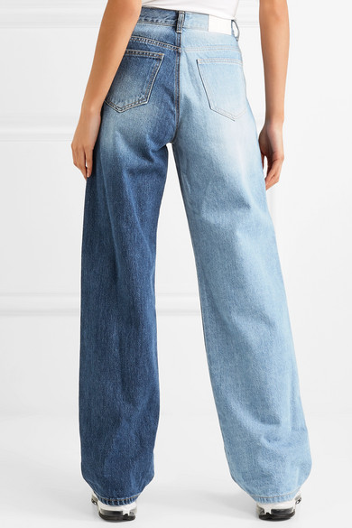 Two-tone Distressed High-rise Wide-leg Jeans - Mid denim Sjyp Online Cheap Quality Shop Offer For Sale Discount Purchase Hl6kj
