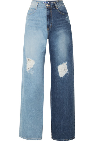 Sjyp TWO-TONE DISTRESSED HIGH-RISE WIDE-LEG JEANS