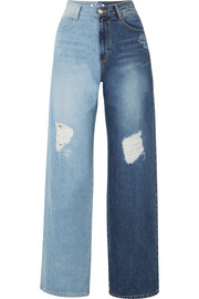 Two-tone distressed high-rise wide-leg jeans