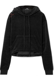 The Upside Hoya cropped cotton-blend velour hooded top