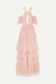 Primrose cold-shoulder tiered embroidered tulle gown