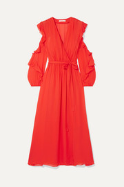 Maje Ruffled wrap-effect chiffon midi dress