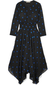 Maje Embroidered Swiss-dot chiffon midi dress