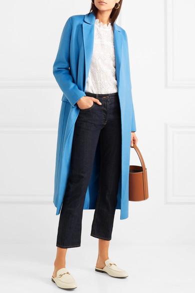 Belted brushed wool-blend felt coat