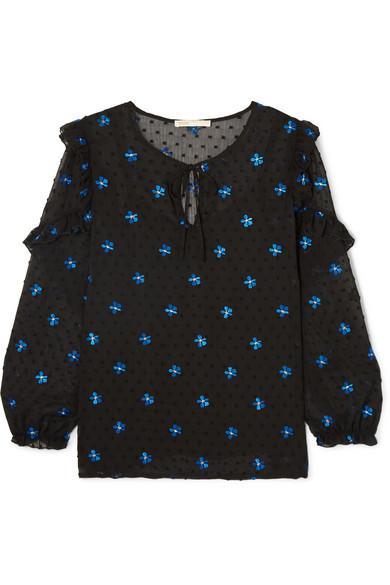 Maje Bestickte Bluse aus Krepon mit eingewebten Punkten