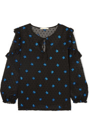 Maje Embroidered Swiss-dot crepon blouse