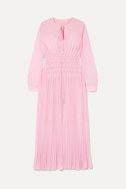 Pleated chiffon midi dress