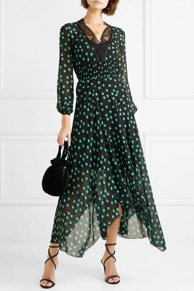 Maje Asymmetrisches Kleid aus bedrucktem Chiffon mit Spitzenbesätzen